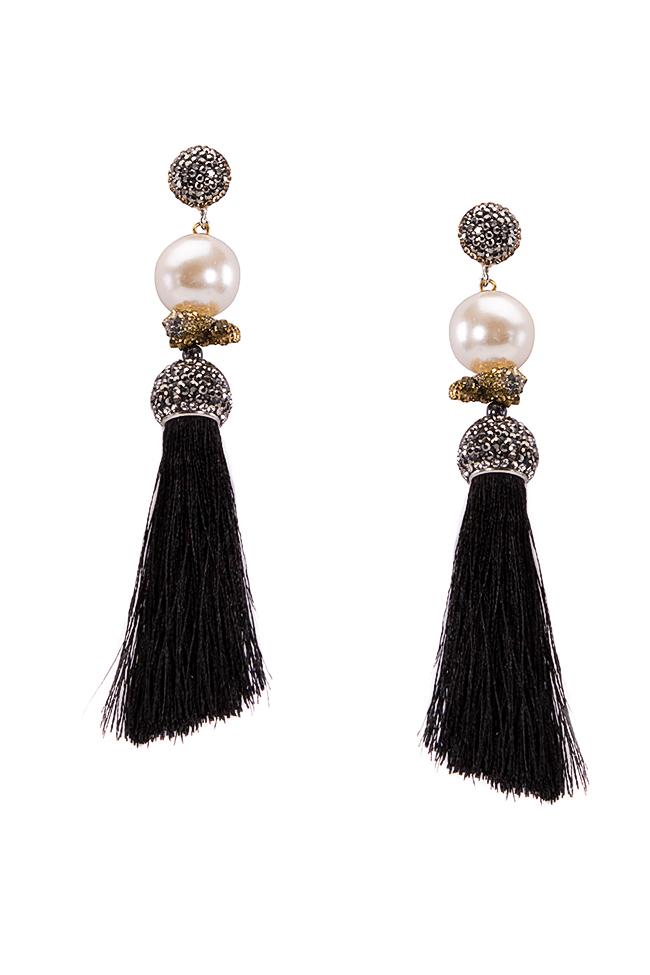 Silk tasseled earrings with crystals Bon Bijou image 0