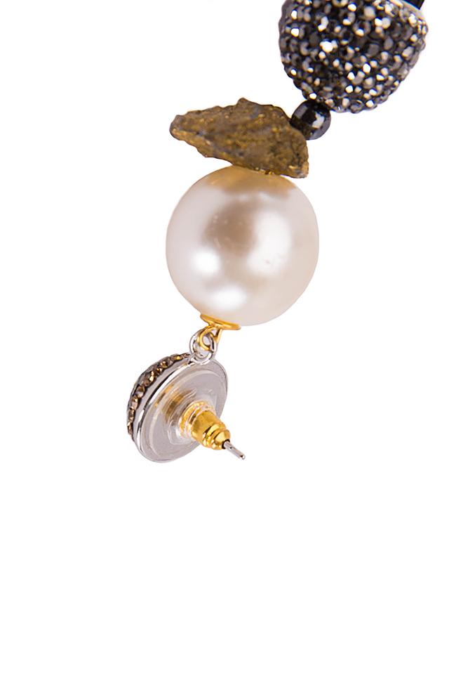 Silk tasseled earrings with crystals Bon Bijou image 1