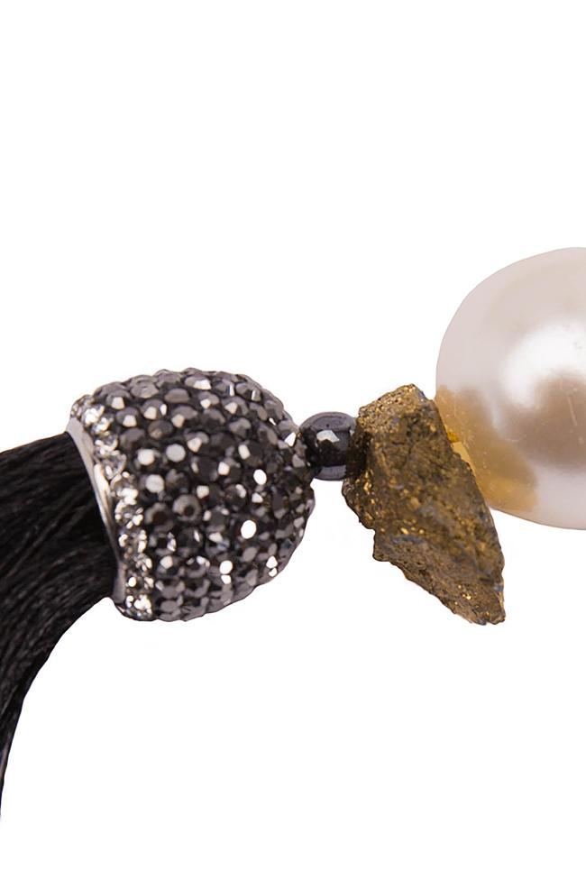 Silk tasseled earrings with crystals Bon Bijou image 2