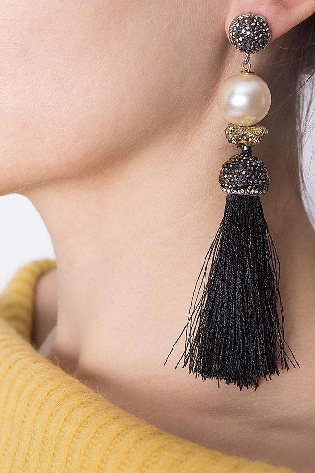 Silk tasseled earrings with crystals Bon Bijou image 4