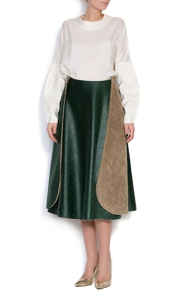 Faux-fur-paneled faux-leather skirt Daniela Barb image 0