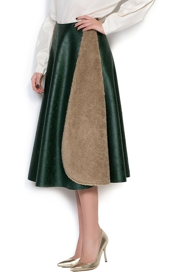 Faux-fur-paneled faux-leather skirt Daniela Barb image 1