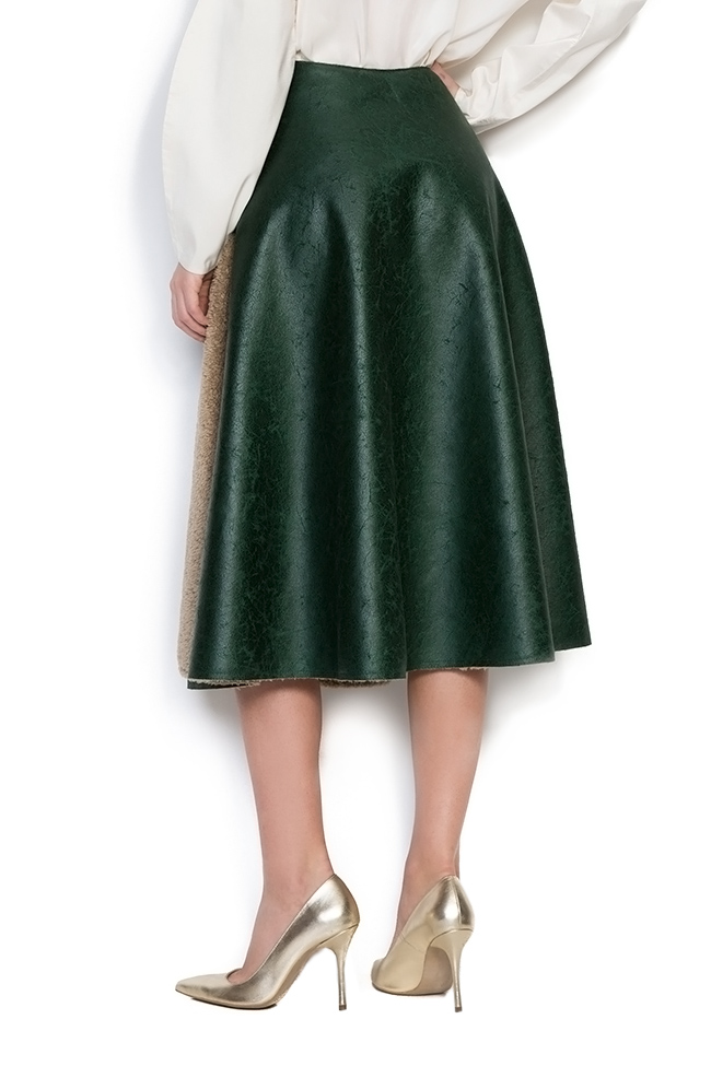 Faux-fur-paneled faux-leather skirt Daniela Barb image 2