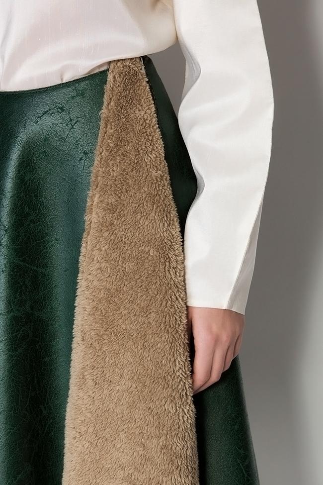 Faux-fur-paneled faux-leather skirt Daniela Barb image 3