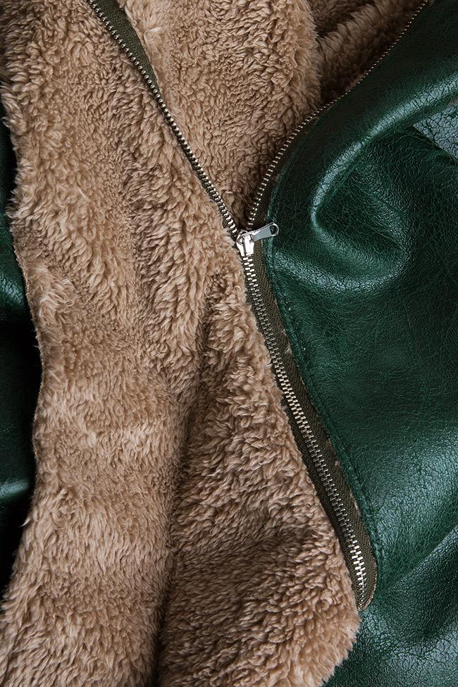 Faux-fur-paneled faux-leather skirt Daniela Barb image 4