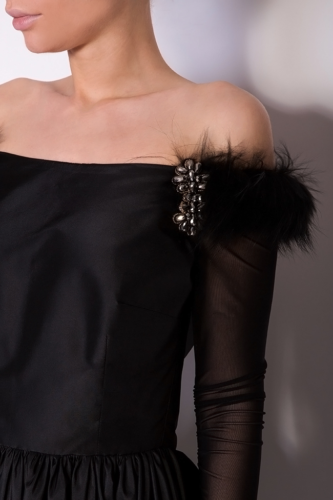 Isabelle silk taffeta dress with fur crystals and tulle insertions Mirela Pellegrini image 3
