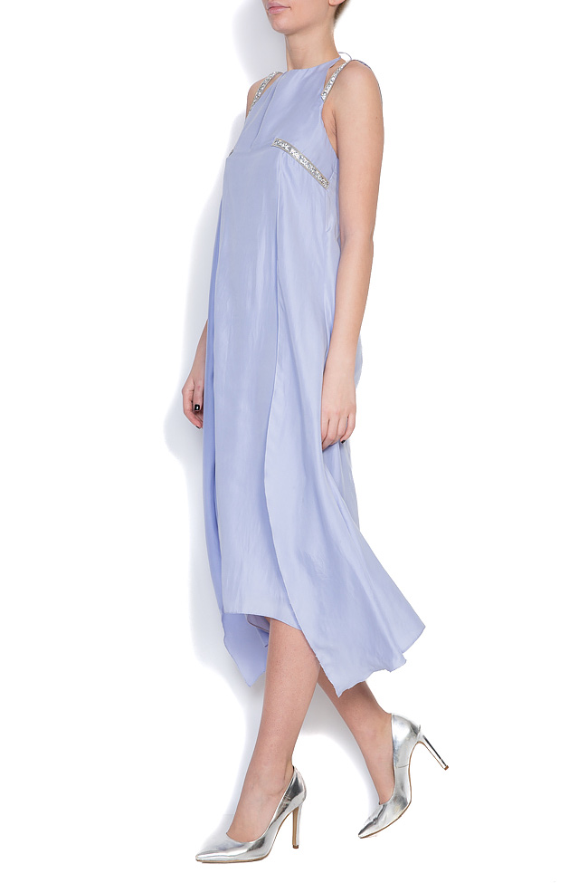 Hippolyta embellished silk asymmetric dress LRM image 1