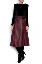 Lure Belted faux-leather skirt