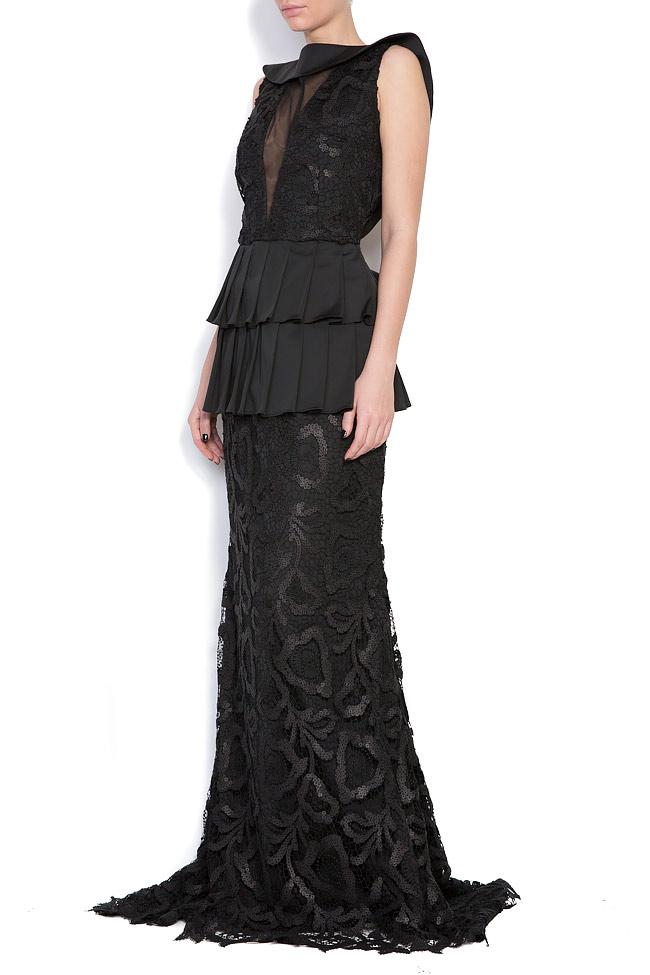 Sequined ruffle-trimmed silk chiffon gown Romanitza by Romanita Iovan image 1