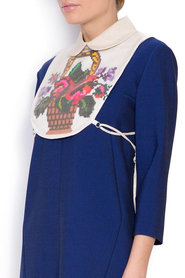 Hand embroidered linen borangic silk cropped vest  Nicoleta Obis image 1