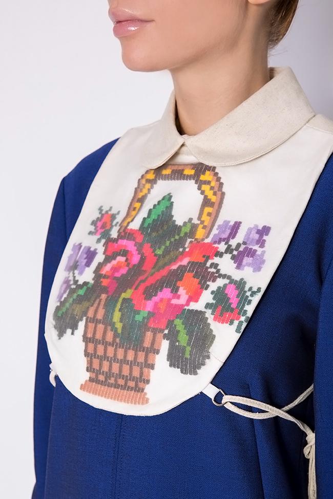 Hand embroidered linen borangic silk cropped vest  Nicoleta Obis image 3