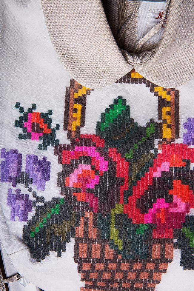 Hand embroidered linen borangic silk cropped vest  Nicoleta Obis image 4