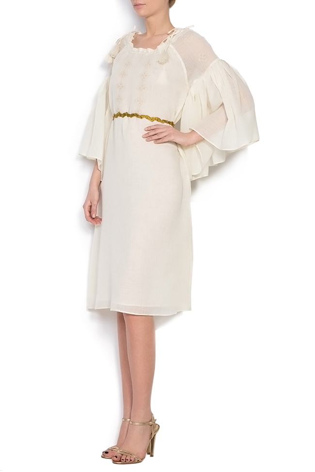 Belted embroidered merino wool mini dress Izabela Mandoiu image 1