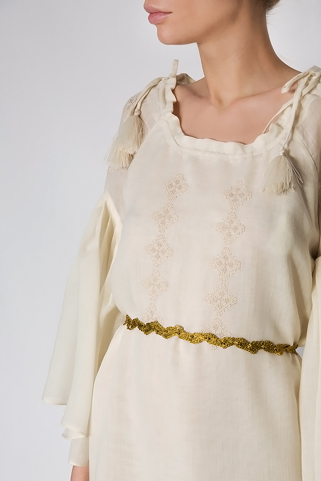 Belted embroidered merino wool mini dress Izabela Mandoiu image 3