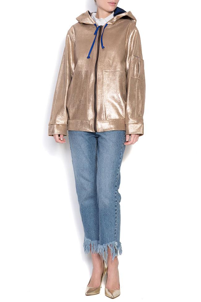 Hooded metallic leather jacket A03 image 0