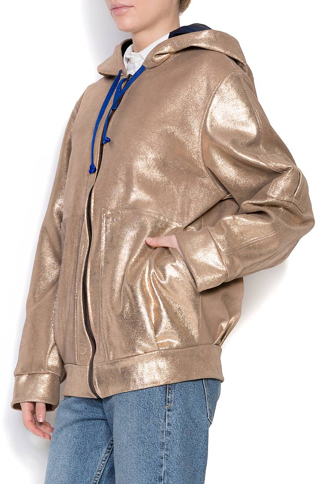 Hooded metallic leather jacket A03 image 1