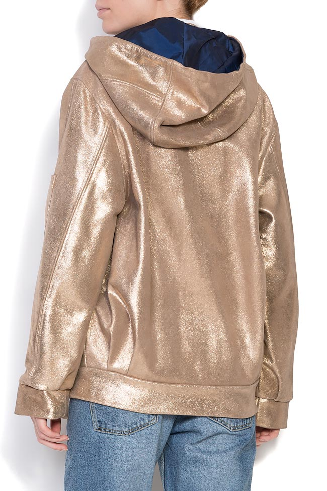 Hooded metallic leather jacket A03 image 2