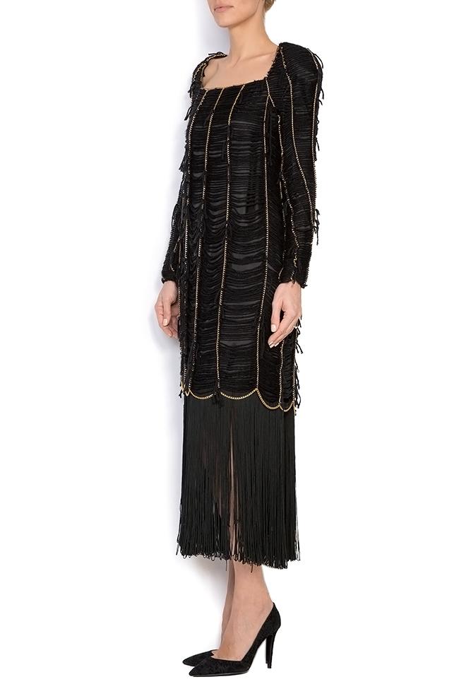 Robe en laine à franges en soie cousus à la main Alexandru Raicu image 1