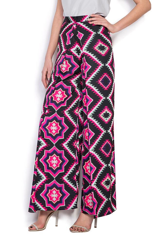 Pantaloni din crep cu imprimeu digital Dorin Negrau imagine 1