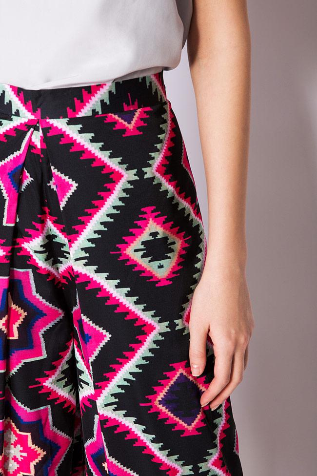 Pantaloni din crep cu imprimeu digital Dorin Negrau imagine 3