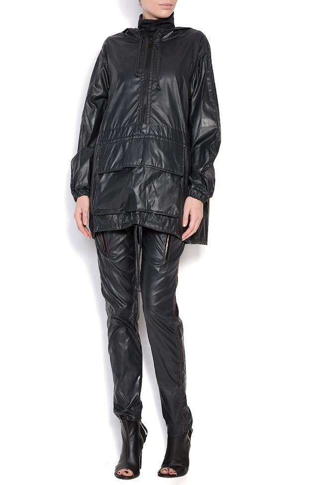 Oversized hooded coated shell raincoat A03 image 0