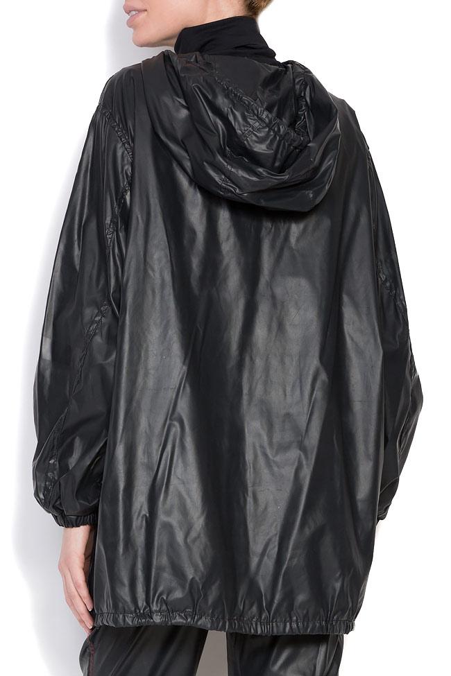 Oversized hooded coated shell raincoat A03 image 2