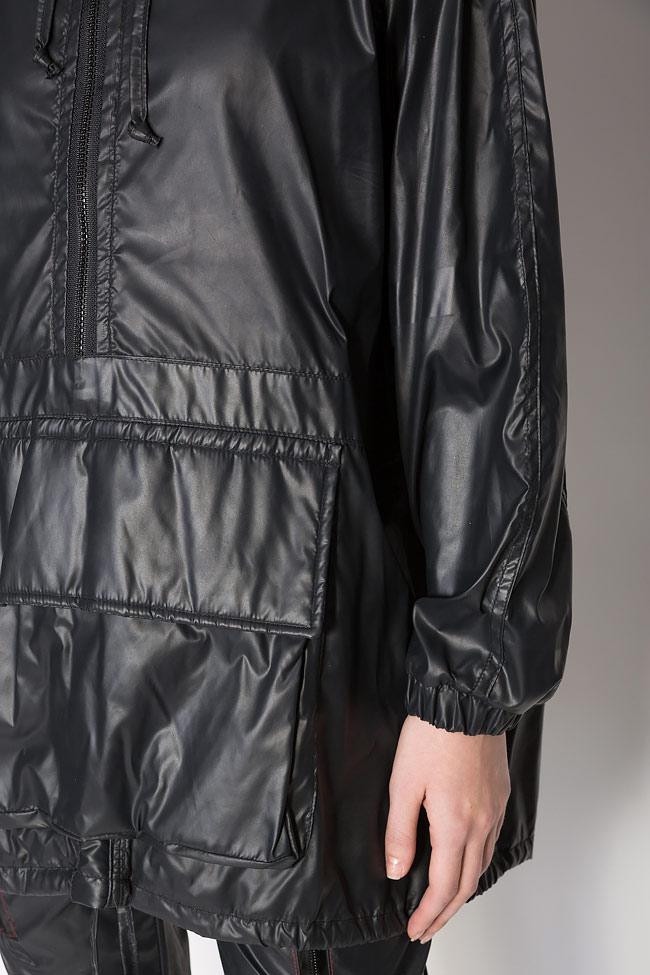 Oversized hooded coated shell raincoat A03 image 3