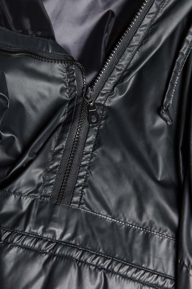Oversized hooded coated shell raincoat A03 image 4