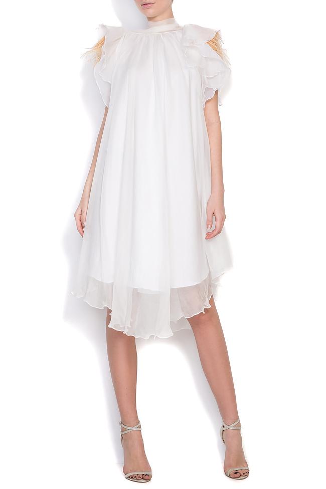 Feather-trimmed silk mini dress Mirela Diaconu  image 0