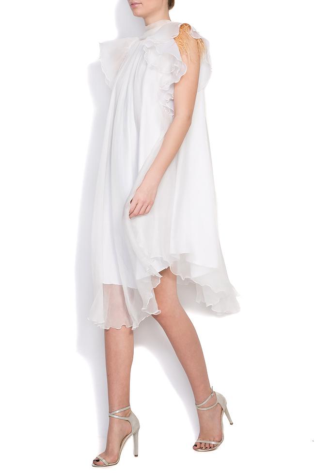 Feather-trimmed silk mini dress Mirela Diaconu  image 1
