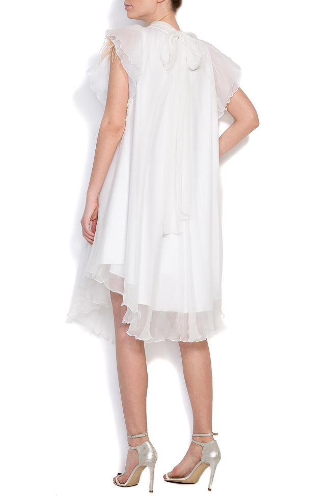 Feather-trimmed silk mini dress Mirela Diaconu  image 2