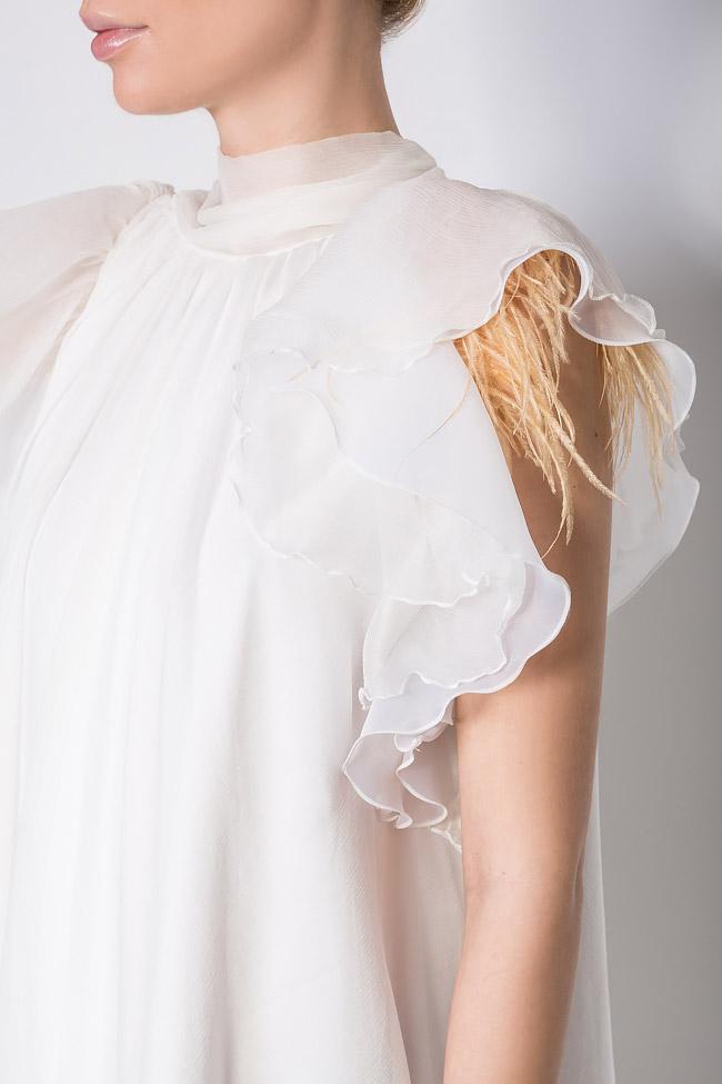 Feather-trimmed silk mini dress Mirela Diaconu  image 3