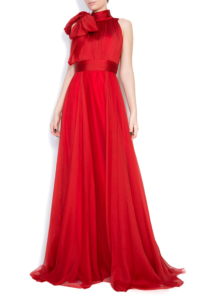 Aria bow-embellished silk-georgette gown M Marquise image 0