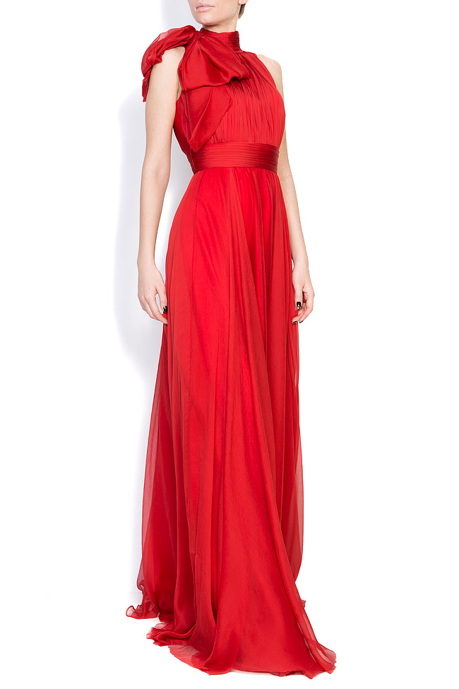 Aria bow-embellished silk-georgette gown M Marquise image 1