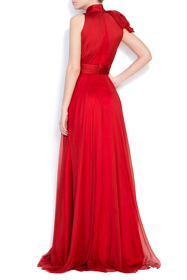 Aria bow-embellished silk-georgette gown M Marquise image 2