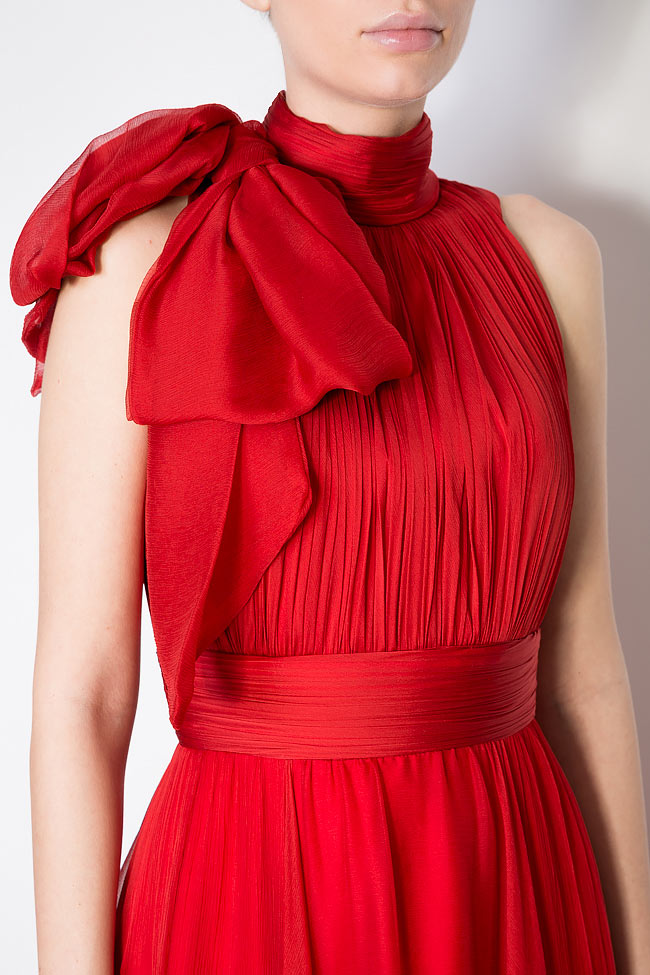 Aria bow-embellished silk-georgette gown M Marquise image 3