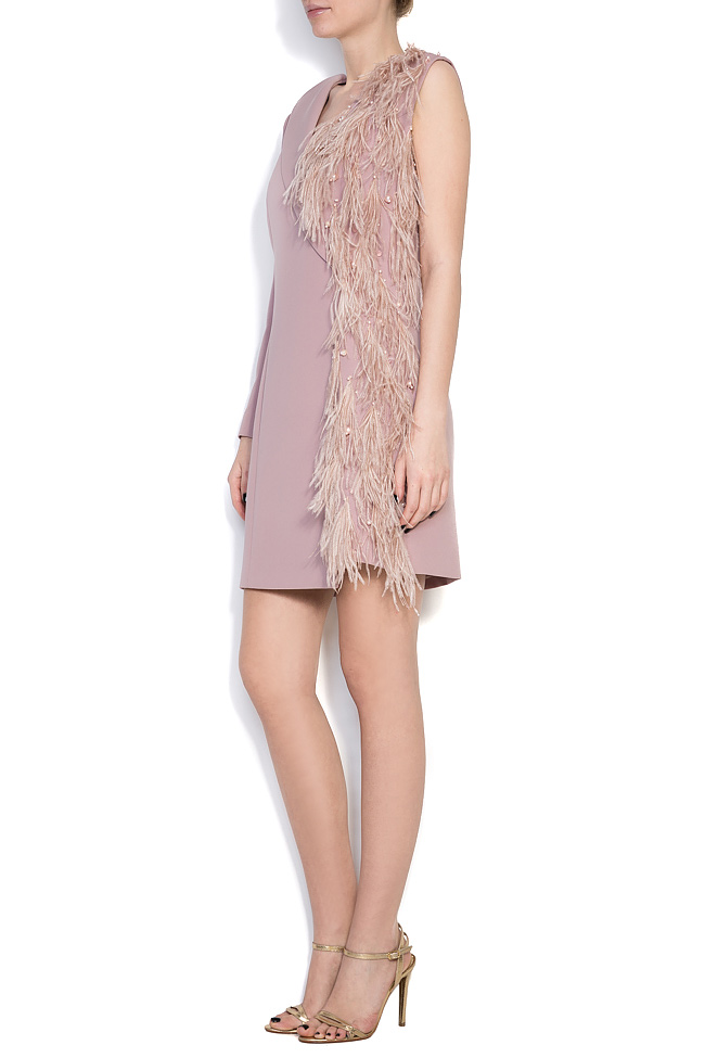 Andra feather-trimmed crepe de chine dress M Marquise image 1