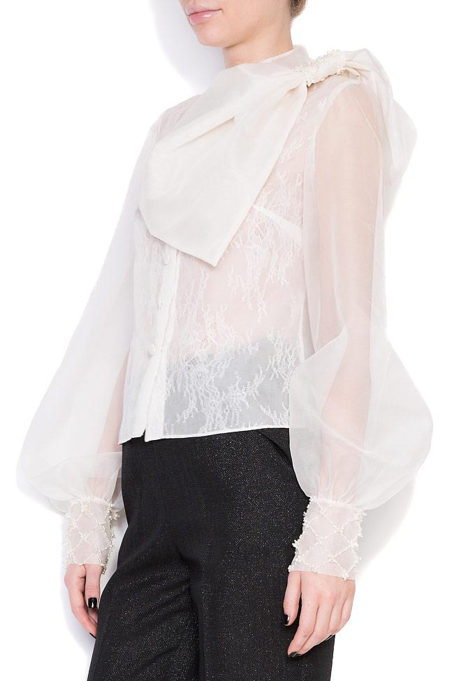 Eva embellished silk-organza shirt M Marquise image 1