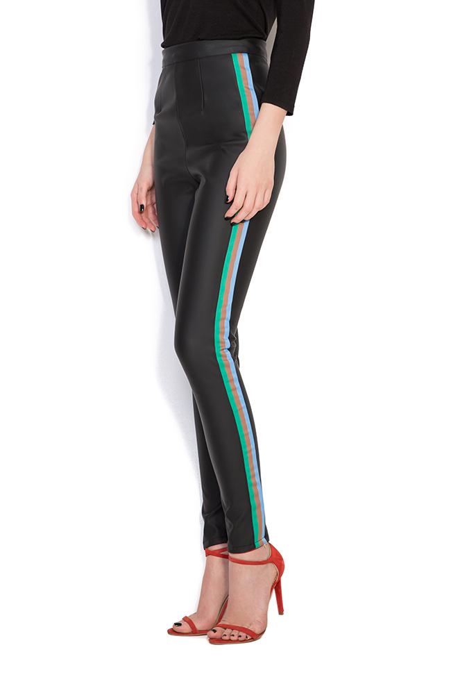 Pantalon en cuir écologique à rayures  Dorin Negrau image 1