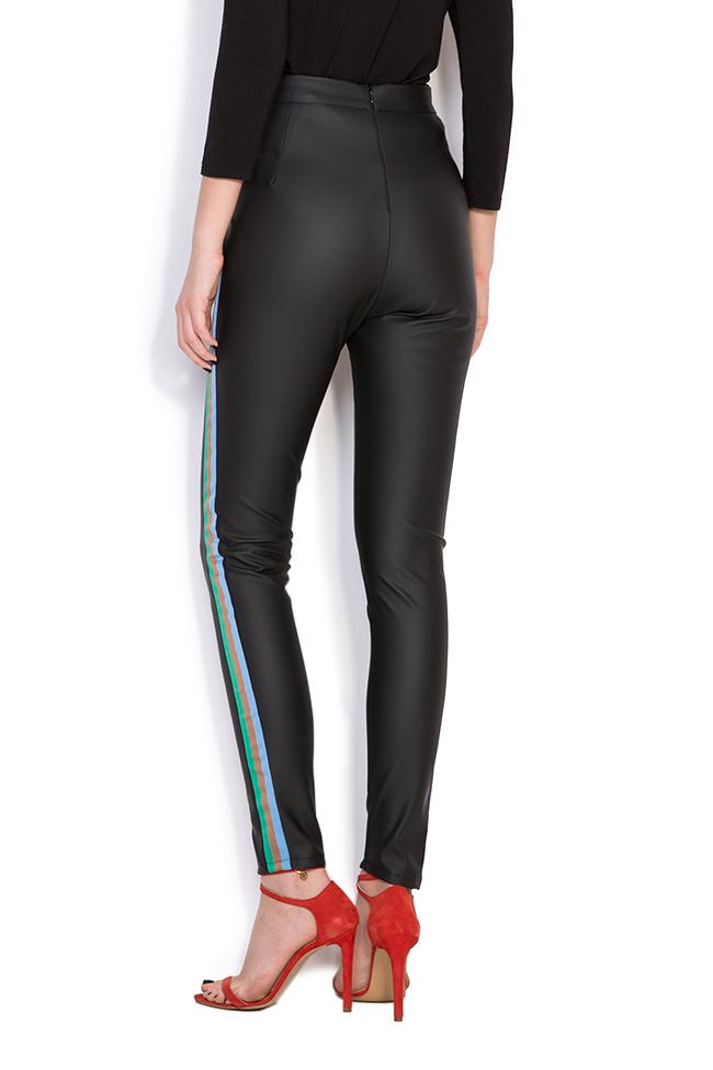 Pantalon en cuir écologique à rayures  Dorin Negrau image 2