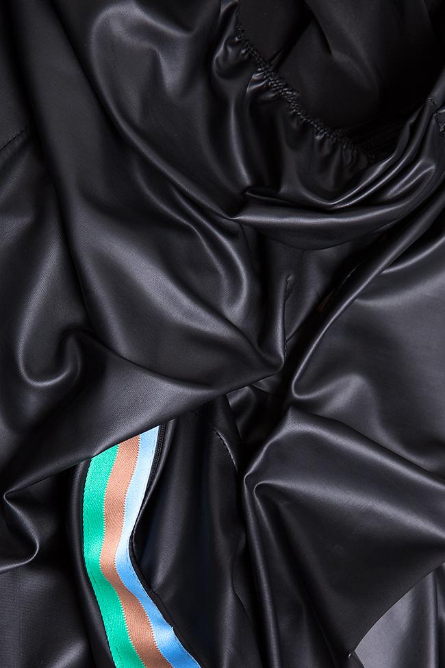 Robe asymétrique en cuir écologique à rayures Dorin Negrau image 4