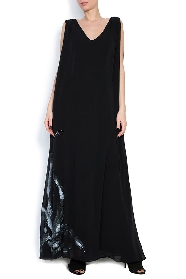 Robe en soie peinte à la main ornée de cristaux   B.A.D. Style by Adriana Barar image 1