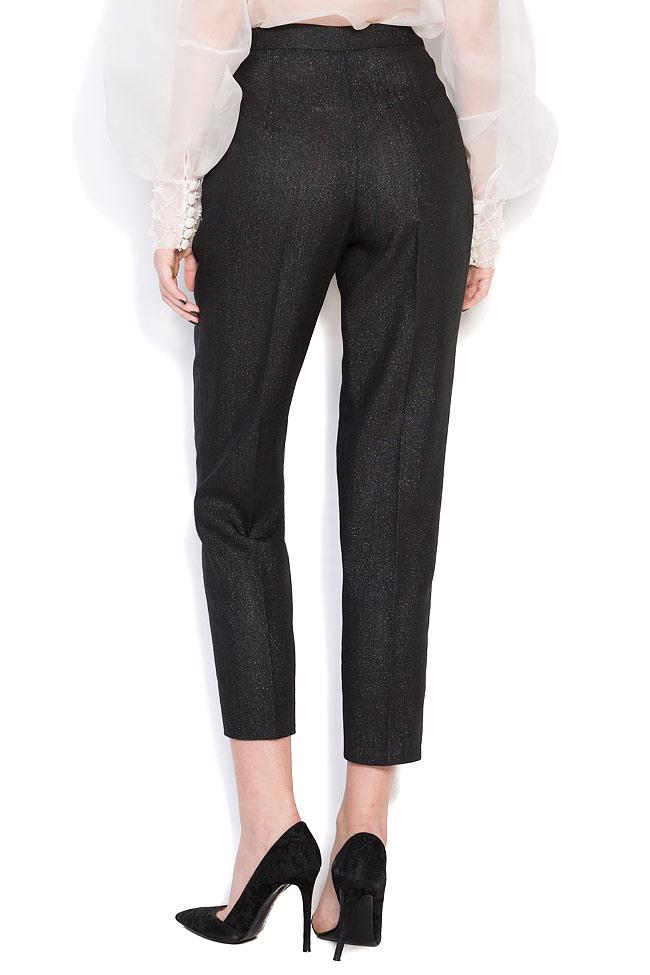 Pantalon en crêpe à taille haute,