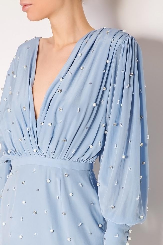 Beat embellished silk dress Manuri image 3