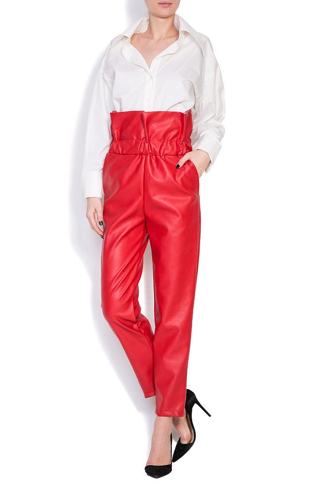 Pantalon taille haute, en cuir écologique Hard Coeur image 0