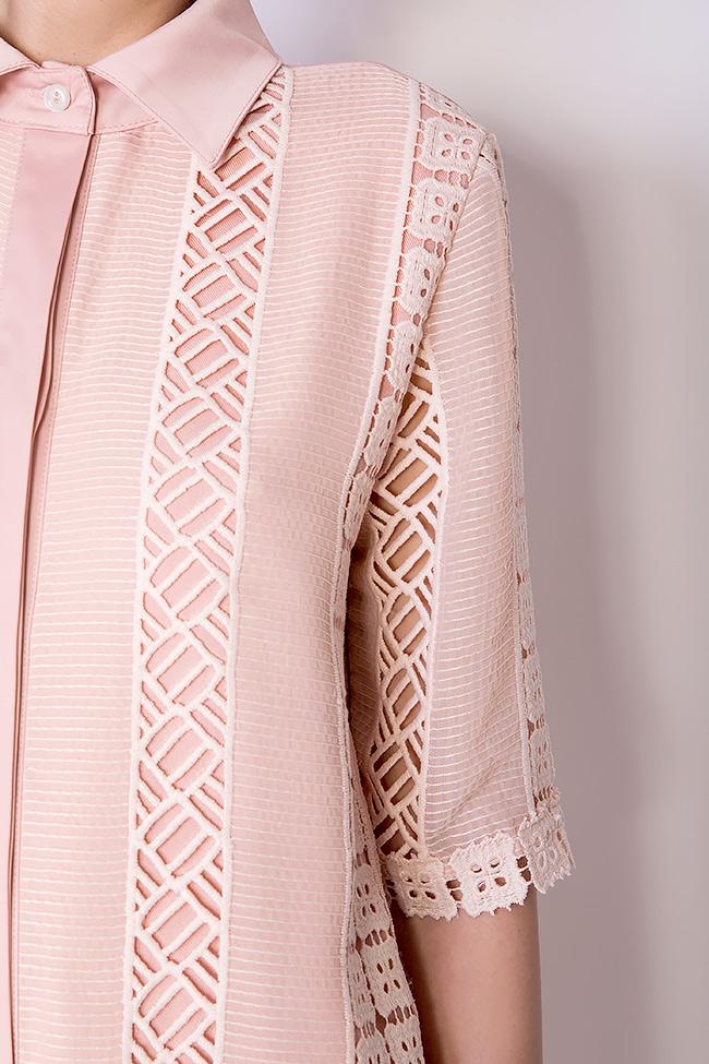 Robe en coton avec des insertions de dentelle guipure BLUZAT image 3