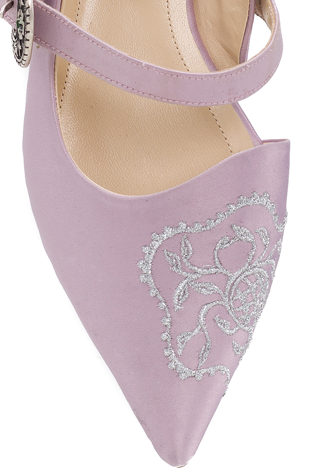 Embroidered leather satin mules Ana Kaloni image 3