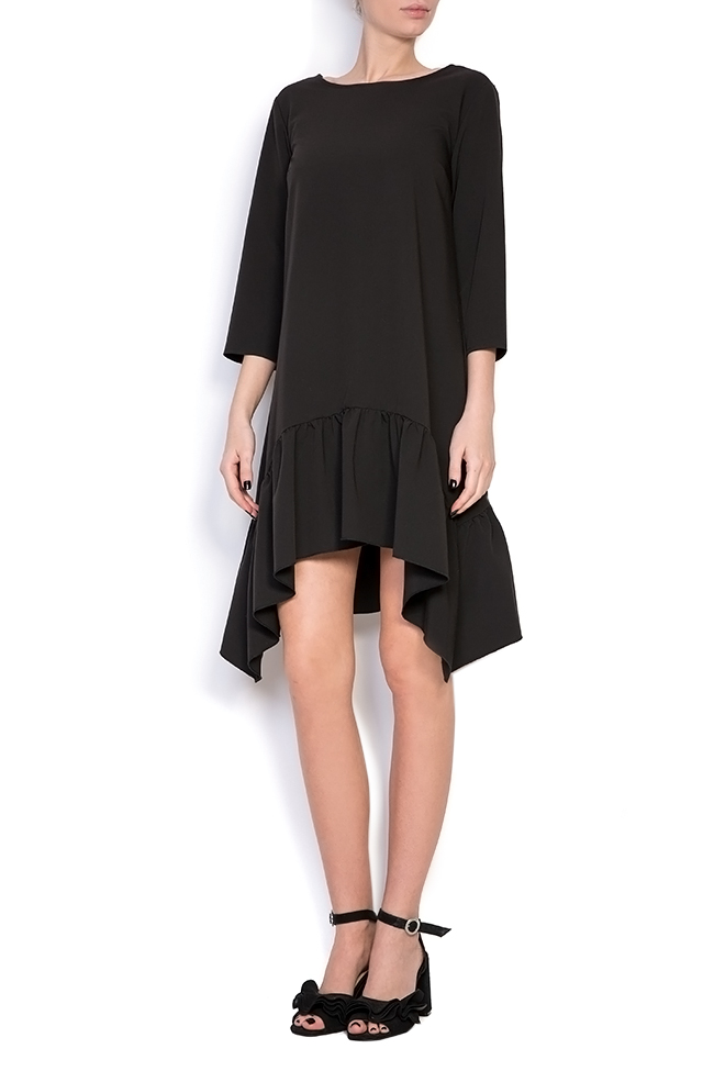 Asymmetric crepe mini dress BLUZAT image 0