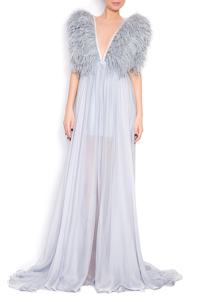 Feathered-trimmed silk gown Manuri image 0