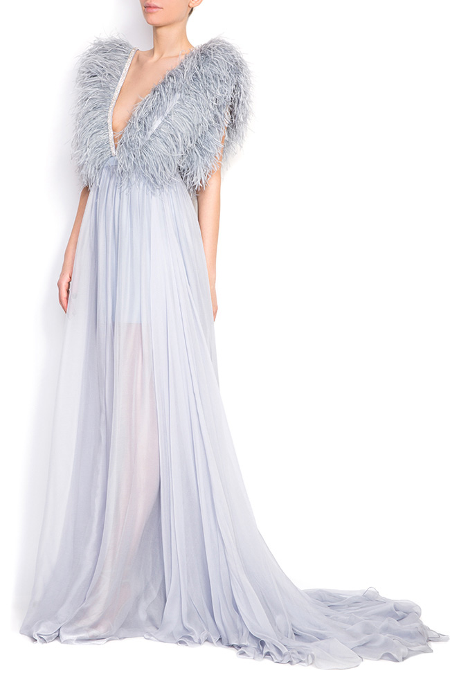 Feathered-trimmed silk gown Manuri image 1